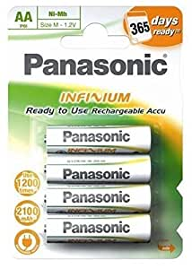 Panasonic Infinium AA Rechargeable Batteries - 2100 mAh - Pre-Charged 4 Pack