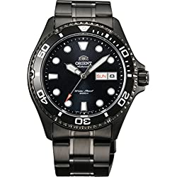 Orient #FAA02003B Men's Black IP Stainless Steel Ray II Raven 200M Automatic Diver Watch