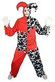 Foxxeo 40255 I Horror Clown Harlekin Hofnarr schwarz rot Kostüm für Herren Halloween Gr. M-XXL, Größe:L