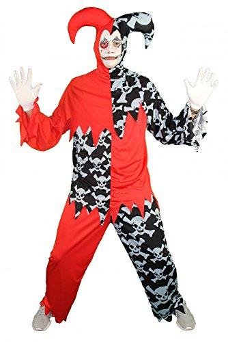 Foxxeo 40255 I Horror Clown Harlekin Hofnarr schwarz rot Kostüm für Herren Halloween Gr. M-XXL, (Herren Kostüme Harlekin)