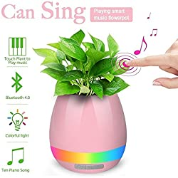 Music Flowerpot,Smart Plant pots,Touch Music Plant Lamp with Rechargeable Wireless Bluetooth Speaker and LED Night Light Perfect Gift Choice (without Plant) - Pink