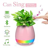 Globex Touch Music Plant Lamp with Rechargeable Wireless Bluetooth Speaker and LED Night Light (Pink)