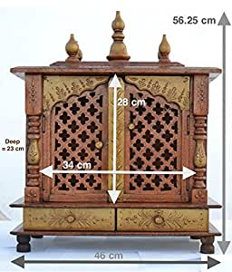 Buy jodhpur handicrafts home temple wooden temple pooja - Wall mounted wooden temple design for home ...