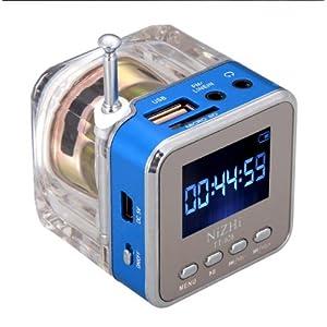 Andoer Mini lettore mp3/4 portatile, con entrata SD/TF/USB, con radio FM e altoparlanti, da usare a casa e in viaggio, Blu
