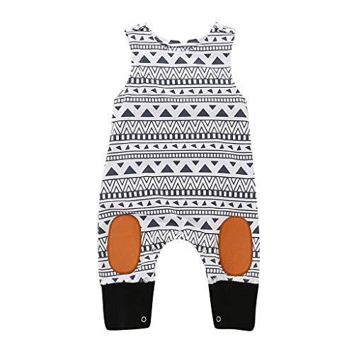 0-24 Monate Babykleidung Neugeborene Jungen Overall Einfaches Geometrisches Muster Baby Crawlersuit Babyoverall(Weiß,0-6 Monate/70) ()