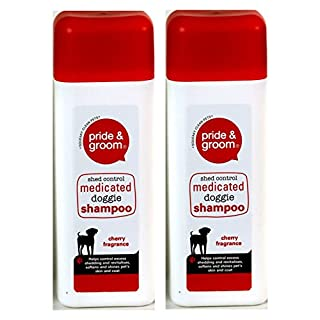 2 X Pride & Groom Cherry Scent Medicated Dog Shampoo Doggie Puppy Shampoo 300ml Shed Control