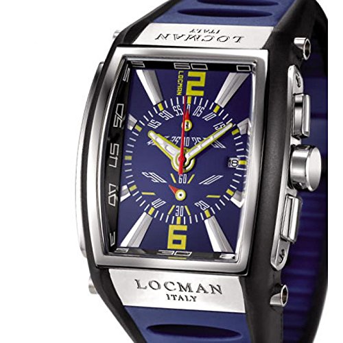 Locman Clock Quartz Three Thousand 026200blnor5bkb (Rechargeable) quandrante Steel Blue Silicone Strap