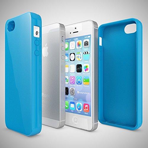 iPhone SE 5 5S Coque Silicone de NICA, Ultra-Fine Housse Protection Cover Slim Premium Etui, Mince Telephone Portable Gel Case Bumper Souple pour Apple iPhone 5 5S SE Smart-Phone - Blanc Bleu