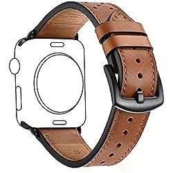 Correas para Apple Watch KZKR Correa Pulsera cuero de reloj Marrón 38mm/42mm Correa reloj para iWatch 1 2 3 doble gira cuero Reloj B030-M Reloj Correa Negro Azul Blanco (Marrón-38mm)