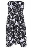 Fashion 4 Less Mujer Mujer Talla Grande Estampado Brillo Top Tubo Sin Tirantes Camiseta Vestido 8 22 - sintético, Calavera Rosa, 5% elastano 95% viscosa, mujer, EU 40-42