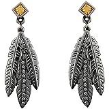 Raven Feather Treasure Ohrringe mit Swarovski Crystals von CRYSTALP Federn Herzblut