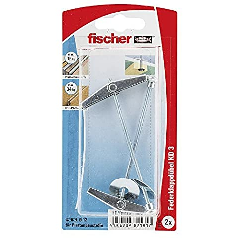 Fischer 82181 KD 3 K Metal Spring Toggles with Threaded Rods - Multi-Colour (2-Piece) by Fischer