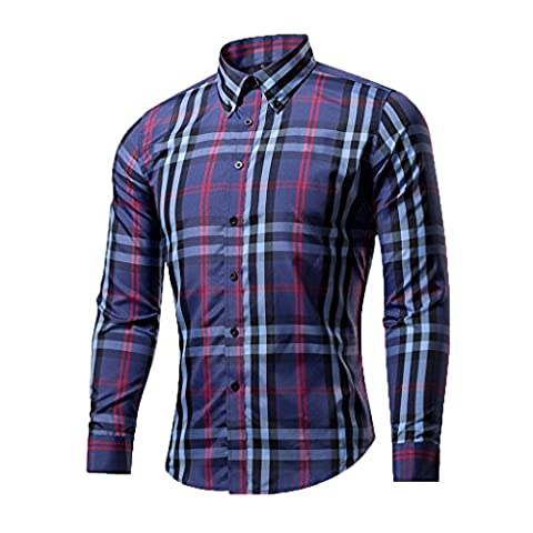 Men's Casual Long Sleeved Plaid Slim Fit Dress Shirt
