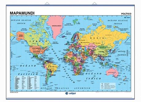 Mapa mural Mapamundi impreso a doble cara Físico / Político envarillado, con colgadores y tubo 140 x 100 cm (Mapas murales)