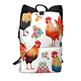 Homebe Sunflower Art Rooster Animal Vintage Zaino Holder,Borse Scuola,Zaino per la Scuola School Travel Hiking Small Mini Gym Teen Little Girls Youth Kid Women Men Printed Patterned Themed Bookbags