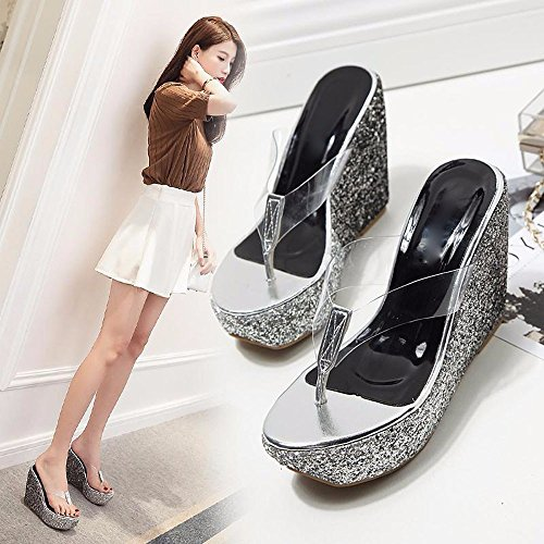 Gtvernh-verano Zapatos Con Lentejuelas De Plata Transparente Pendiente Con Zapatillas Mujer Gruesa Plataforma Impermeable Bajo Los Talones Playas De Arena, Treinta Y Cuatro Treinta Y Cinco