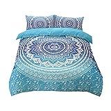 Sticker superb Azul Blanco 180x220cm Mandala Bohemia Juego de Ropa de Cama 90cm, Cumpleaños Regalo...