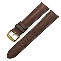iStrap 20mm France Calf Leather Watch Strap Golden Pin Buckle Watch Band Super Soft-Dark Brown