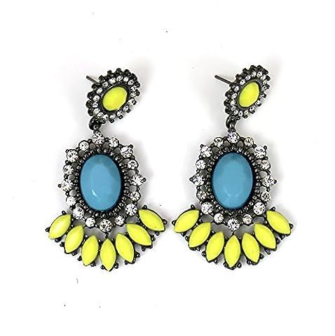 #920 Women Fashion Jewellery Faux Gemstone Blue Lime Yellow Stud Drop Earrings