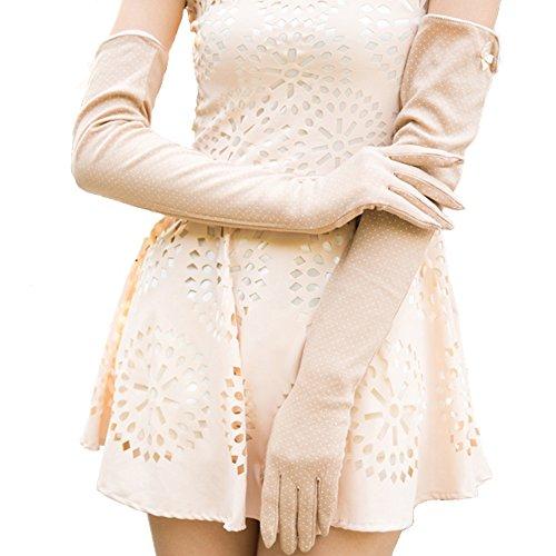nappaglo frauen lange sonnencreme am touchscreen - handschuhe baumwolle für den sommer uv - schutz (cremig gelb (nicht -touchscreen)
