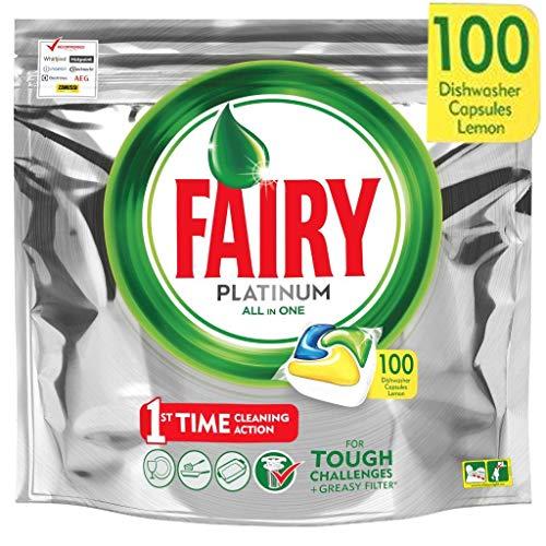 Fairy Platinum - Spülmaschinentabs All-In-One 100 Kapseln Zitrone Lemon Geschirrspültabs, Geschirrspülmittel Tabs in Sparpack