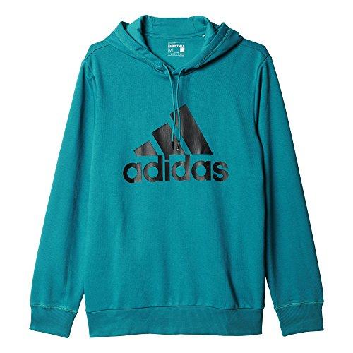 Adidas Logo Hood Felpa per Uomo, Blu/Nero (Eqtver/Nero), XL