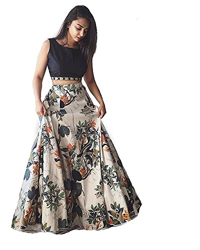 Generative Shoppe Women's Crepe Lehenga Choli (GSLC_03 _Multicolored _Free Size)