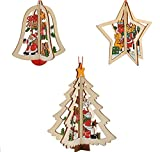 iTemer Tallado en Madera Colgante de Navidad Campanas de árbol de Navidad Adornos de Estrella de Cinco Puntas Adornos 1 Paquete de 3 Piezas