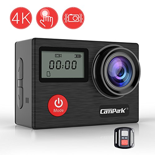 Campark X20 Action Cam WIFI Sports Camera 4K Kamera 20MP Ultra Full HD Wasserdicht Helmkamera mit SONY Sensor, Dual LCD Touchscreen, Fernbedienung, EIS, 2 1050mAh Akkus und kostenlose Accessoires