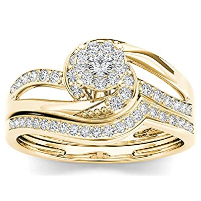 10Kt Yellow Gold 0.33 Ct Diamond Engagement Bridal Set Ring