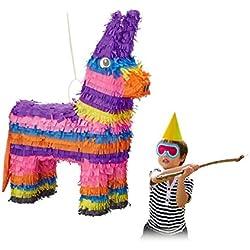 Relaxdays Donkey Pinata, Niñas, Niños, Niños, Cumpleaños, Rellenable, HxWxD: 55 x 40 x 13 cm, Colorido