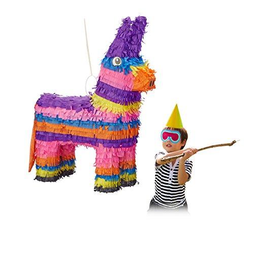 Relaxdays Pinata Esel, zum Aufhängen, Kinder, Mädchen, Jungs, Geburtstag, zum Befüllen, HxBxT: 55 x 40 x 13 cm, bunt (Party-ideen Geburtstag Coole)