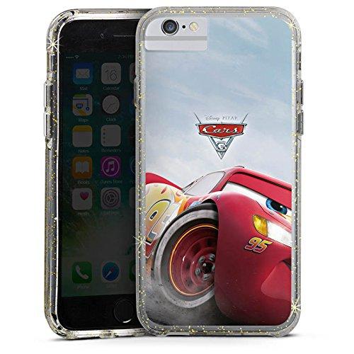 Apple iPhone 7 Plus Bumper Hülle Bumper Case Glitzer Hülle Lightning Mcqueen Cars 3 Disney Cars Bumper Case Glitzer gold