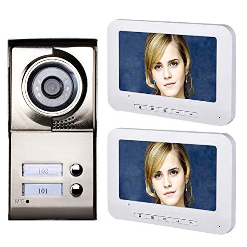 AXNYLHY 7zoll LCD Video Tür Telefon Intercom System IR-Cut HD 1000TVL Kamera Türklingel Kamera mit 2 Monitor wasserdicht, weiß (Tür Kamera Intercom-system)