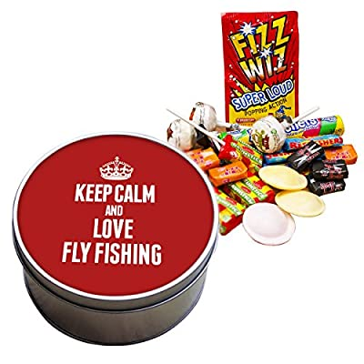 RED Keep Calm and Love Fly Fishing Retro Sweet Tin 1746 by Duke Gifts