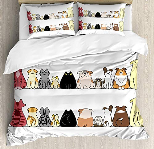 WENYAO Kids Queen Size Bettbezug, Katzen und Hunde Collie Calico Labrador Schottisch Kurzhaar Tabby Shih Tzu Tierliebhaber Kunstdruck, dekorative 3-teiliges Bettwäscheset mit 2 Kissenbezügen -