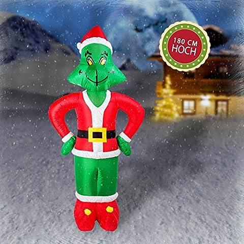 Grinch Figur lebensgroß 180 cm hoher Inflatable Airblown auflabare Weihnachtsfigur mit Gewichten und LED Beleuchtung