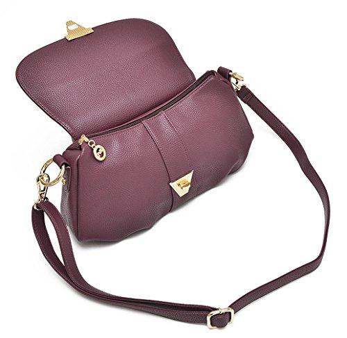 Keshi Leder neuer Stil Damen Handtaschen, Hobo-Bags, Schultertaschen, Beutel, Beuteltaschen, Trend-Bags, Velours, Veloursleder, Wildleder, Tasche Lila