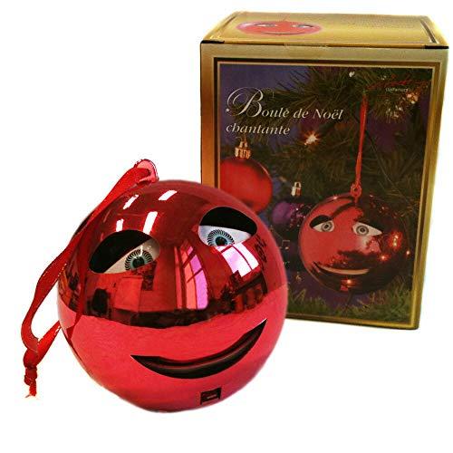 Monsterzeug Christbaumkugel mit Sound - Let it Snow, Singende Weihnachtsbaumkugel mit Schleife, Weihnachtskugel Animiert, Weihnachtsbaumschmuck, Fröhliche Weihnachtsdekoration, Rot