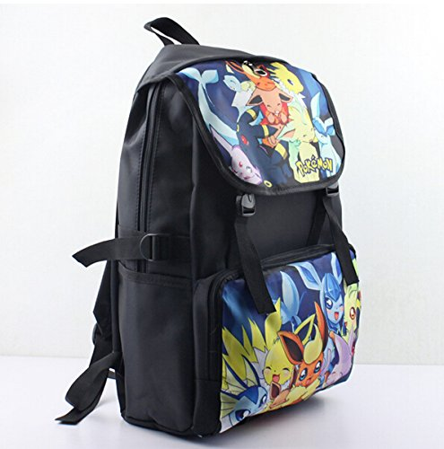 Image of Bonamana Cartoon Pokemon Pikachu Backpack Anime School Bag Rucksack for Teens (B)