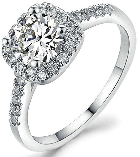 SaySure 18K White Gold Plated Bijoux Anniversary Wedding & Engagement Ring