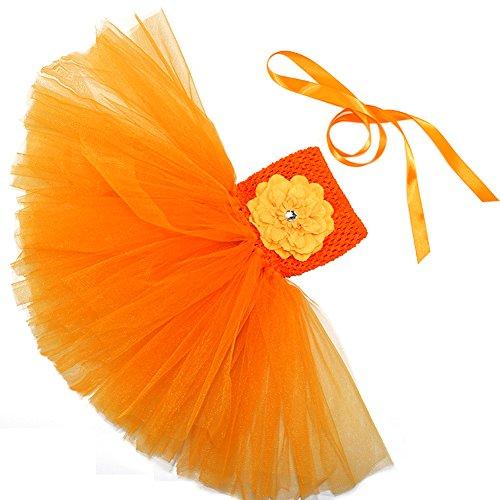 Honeystore Mädchen Spitze Prinzessin Rock Sommer Blumen Kleider für Baby Kleinkinder Kinder 0-2 Jahre alt Medium Orange mit (Kostüme Billig Mime)