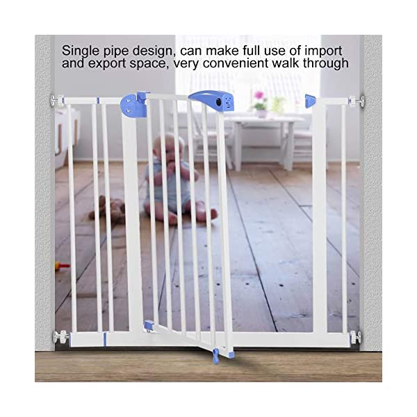Baby Children Safety Gate Door Auto Close Swing Shut Stair Fence Pet Protection High and Wide Pressure Fit Safety Gate Ideal None Screw Stable and Durable Protective Safety Gate for Babies or Pets Ejoyous ღ Auto Close Double Lock 100% Safe ღ This Safety Gate Door adopt double lock and auto close design. There are 2 locks separately located on the top and bottom of the gate, which makes sure that your kids won't accidentally open it and get out. Besides the auto close design also buy you an insurance for careless forgetting to close it. Also it can locate 90 ° normally open, very convenient for long time in and out. These triple protection let your baby totally free from danger ღ Pressure Fit Set Easy Assemble ღ There is no need of any drilling work. The 4 pressure point will let the Safety Gate be firmly and stably fixed on the wall. Extremely easy to get the assemble job done or disassemble to move it to any place else ღ 85-94cm Wide High Versatility ღ The original wide(81 cm) plus extension accessories (10 cm) makes a total 91 cm wide along with the extension pressure point can let the gate be set at 85-94cm doorways, hallway or stairway (the most common wide of house design). You are free to choose using extension accessories or not 7