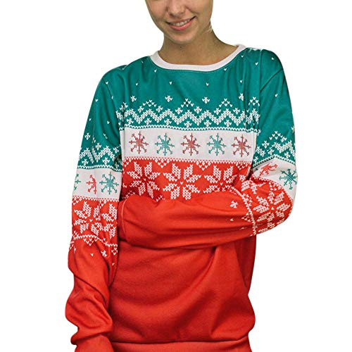 MRULIC Weihnachten Damen Langarm T-Shirt Gestreift Rundhals Pullover Sweatshirt Basic Tops Bluse Shirt Pullover Festliches Kostüm 06(B-Rot,EU-42/CN-XL)