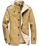 donhobo Herren Fleecejacke Winter Winddichte Military Jacke Outdoor Stoffjacke Canvas Übergangsjacke(01Khaki,M)