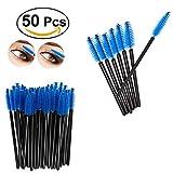 50pcs bacchette di mascara monouso applicatore di ciglia spazzola a sopracciglia per daorier (Blu)