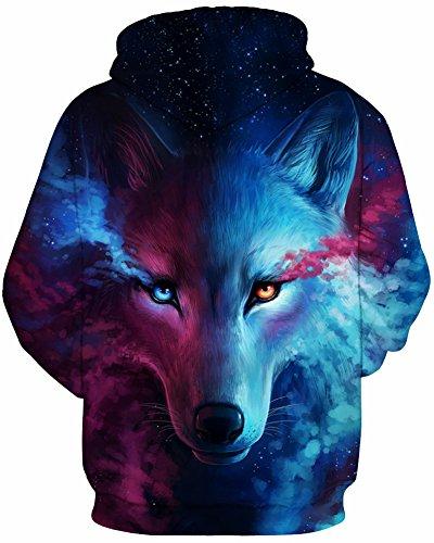 EmilyLe Herren Bunte Pullover mit Taschen Hoodie Long Sleeve Kapuzenpullover 3D Druck Cartoon Muster Sweatshirt bunte Fuchs