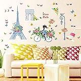 QTXINGMU Fahrrad Mädchen Butterfly Wall Sticker Aufkleber Kinderzimmer Dekoration PVC Abnehmbare Schlafzimmer Aufkleber Wandbild