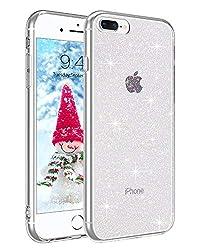 BENTOBEN iPhone 8 Plus Hülle Handyhülle Glitzer, iPhone 8 Plus Case Slim Glitzer Anti Gelb Silikon Bumper Cover Ultra dünn Hülle für iPhone 7 Plus/iPhone 8 Plus Bling Transparent