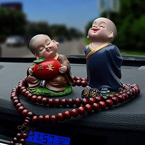 JIANG Dekoration Kleine Mönch Auto Schmuck Auto Neue Maitreya Auto Interieur Anhänger Mittelkonsole niedlichen Cartoon Puppe liefert kleine Puppe Geschenk Magie Flugbemühungen, Set Zwei Frieden Abendessen-geschenk-set
